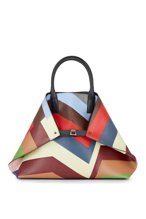 Akris Ai Multicolor Stripe Leather Top Handle Bag