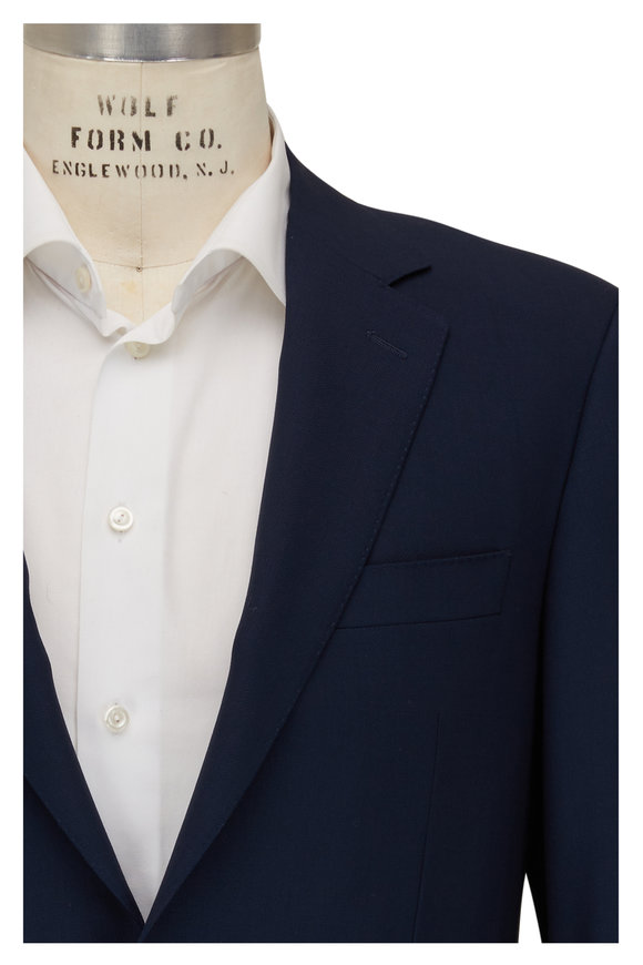 Canali Solid Navy Blue Wool Sportcoat