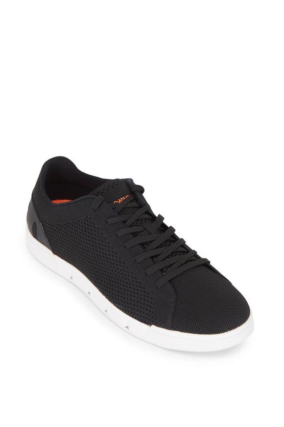 Swims Breeze Tennis Black & White Knit Sneaker