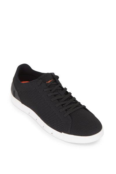 Swims - Breeze Tennis Black & White Knit Sneaker