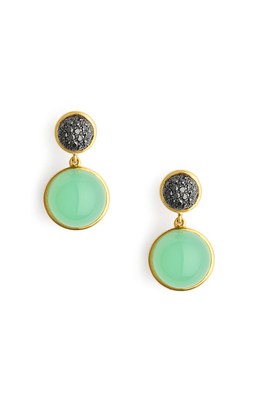 Syna - Crysoprase Big Baubles Black Diamond Earrings