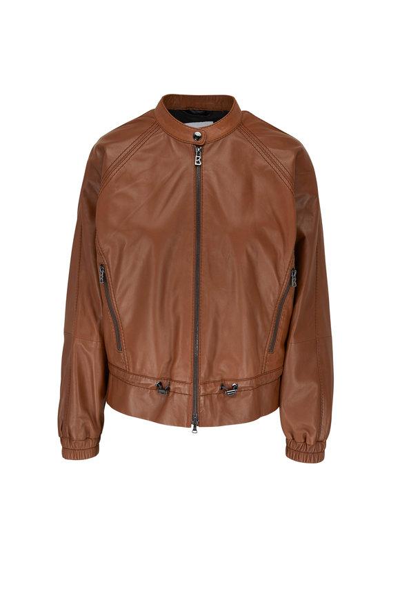 Bogner Eliza Mocha Nappa Leather Jacket
