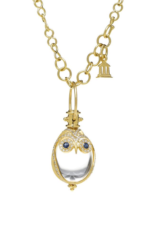 Blue Sapphire Gold Owl Amulet