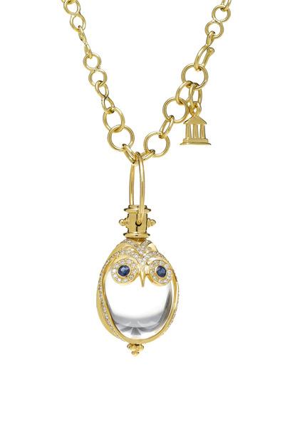 Temple St. Clair - Blue Sapphire Gold Owl Amulet