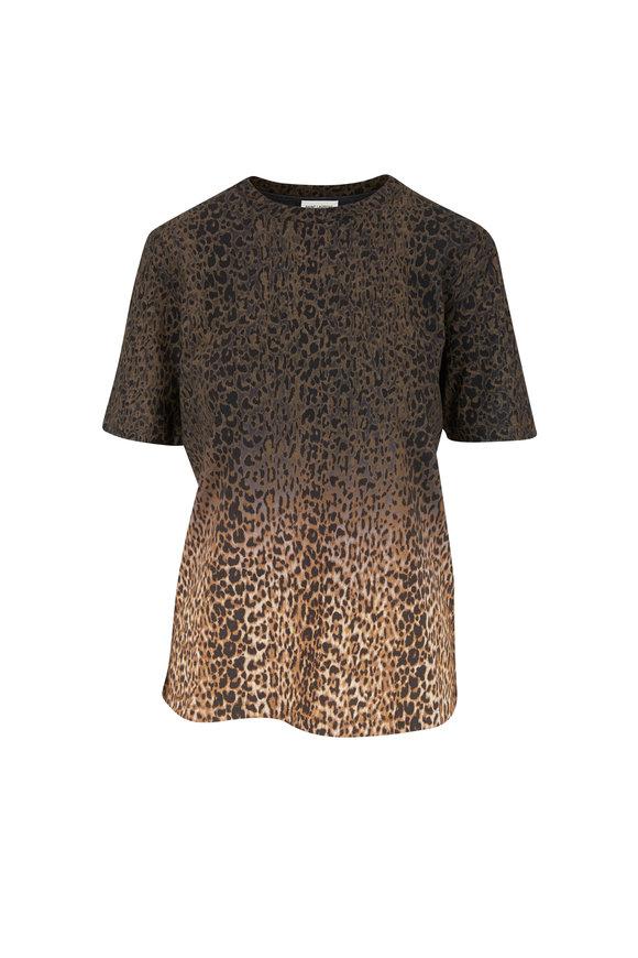 Saint Laurent Beige & Black Leopard Print T-Shirt
