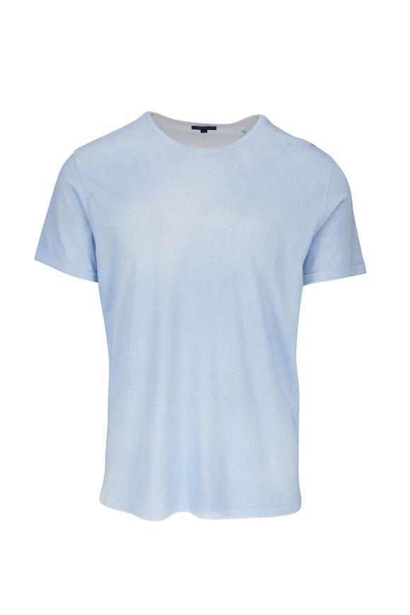 PYA Patrick Assaraf Sky Blue Spray Wash Short Sleeve T-Shirt
