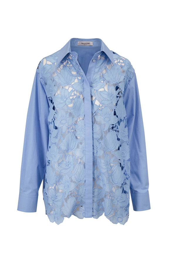 Valentino Blue Lace Front Button-Down Blouse