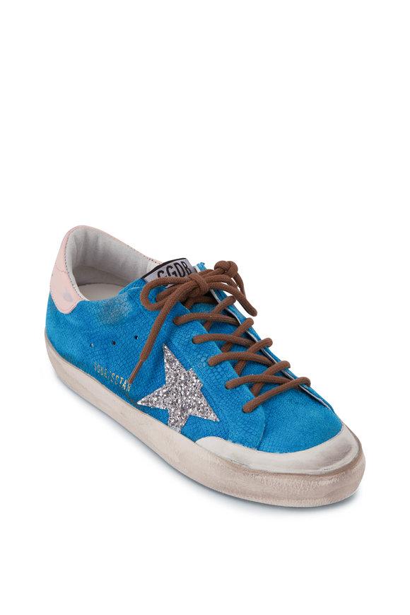 Golden Goose Super-Star Blue Lizard Print Suede Low Top Sneaker