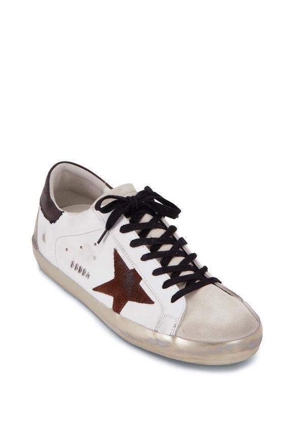 Golden Goose Super Star White Leather & Brown Star Sneaker