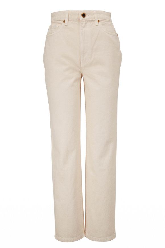 Khaite Abigail Ivory High-Rise Straight Crop Jean