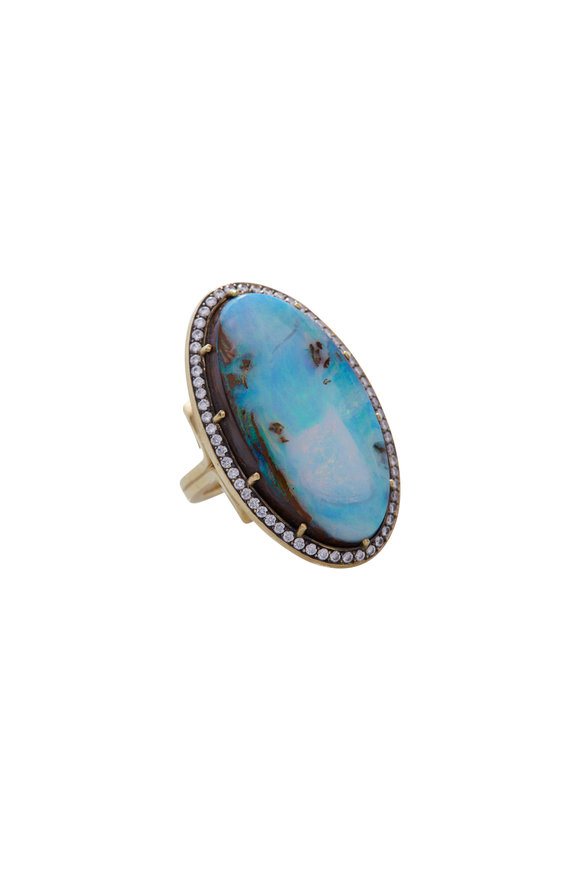 Sylva & Cie Yellow Gold Opal & Diamond Ring