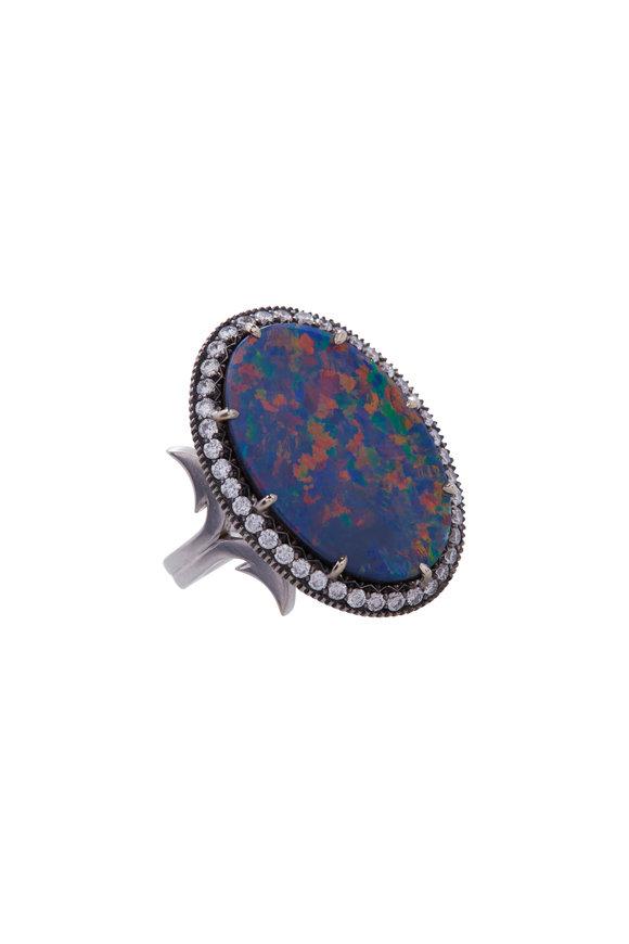 Sylva & Cie Gypsy Opal Ring With Diamonds