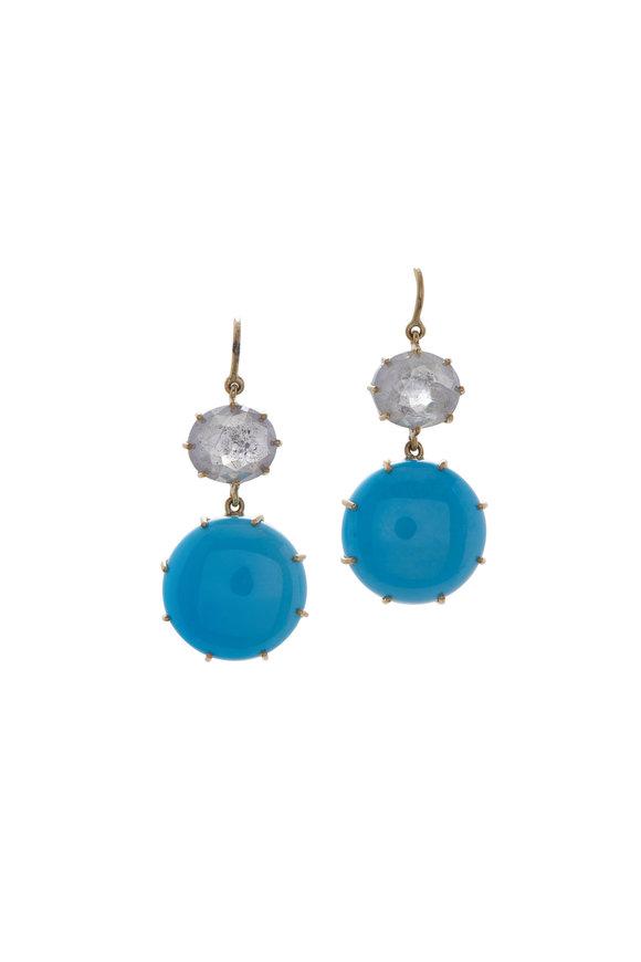 Sylva & Cie Sleeping Beauty Turquoise Drop Earrings