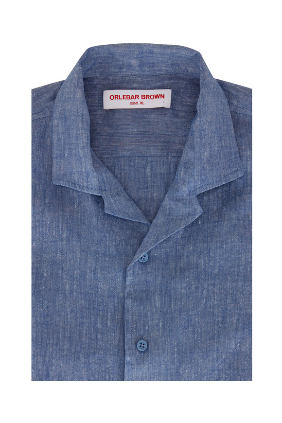 Orlebar Brown Hibbert Blue Linen Shirt