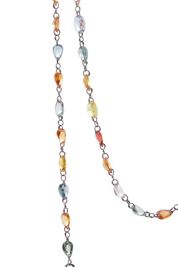 Cairo White Gold Multicolor Sapphire Chain Necklace
