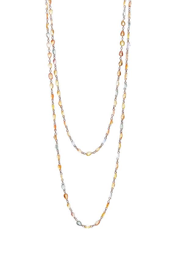Cairo Yellow Gold Multicolor Sapphire Chain Necklace