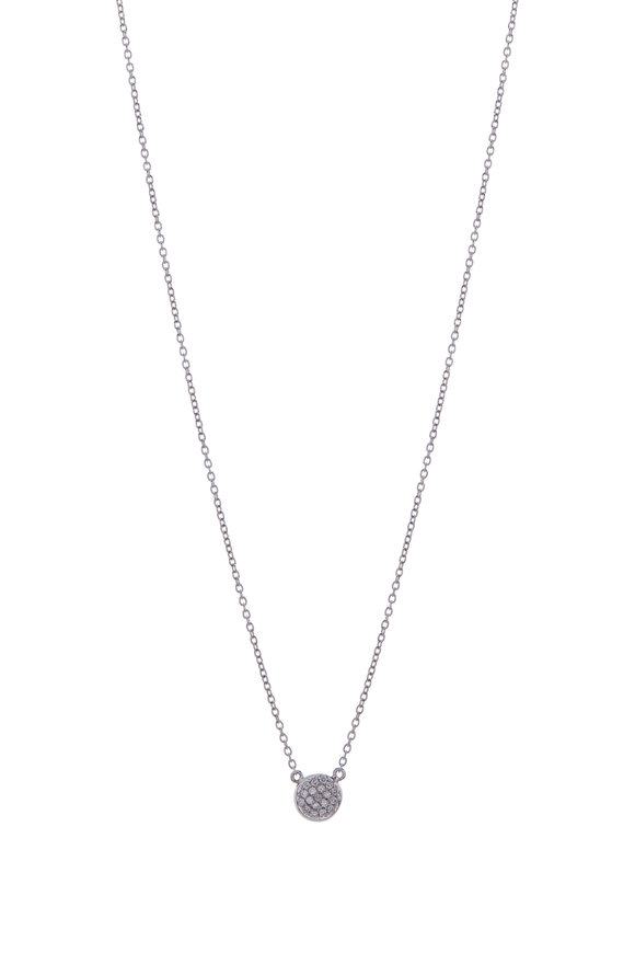 Cairo White & Black Diamond Double Sided Disc Necklace