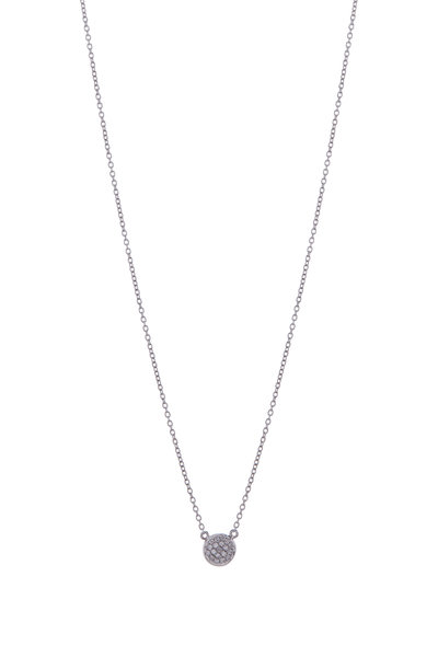 Cairo - White & Black Diamond Double Sided Disc Necklace