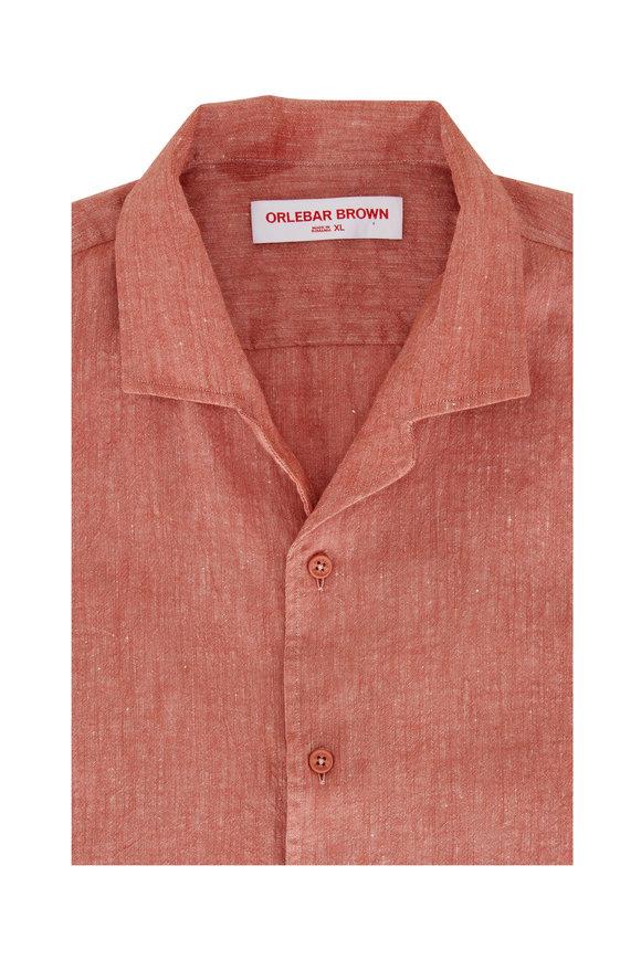 Orlebar Brown Hibbert Vintage Rose Linen Shirt