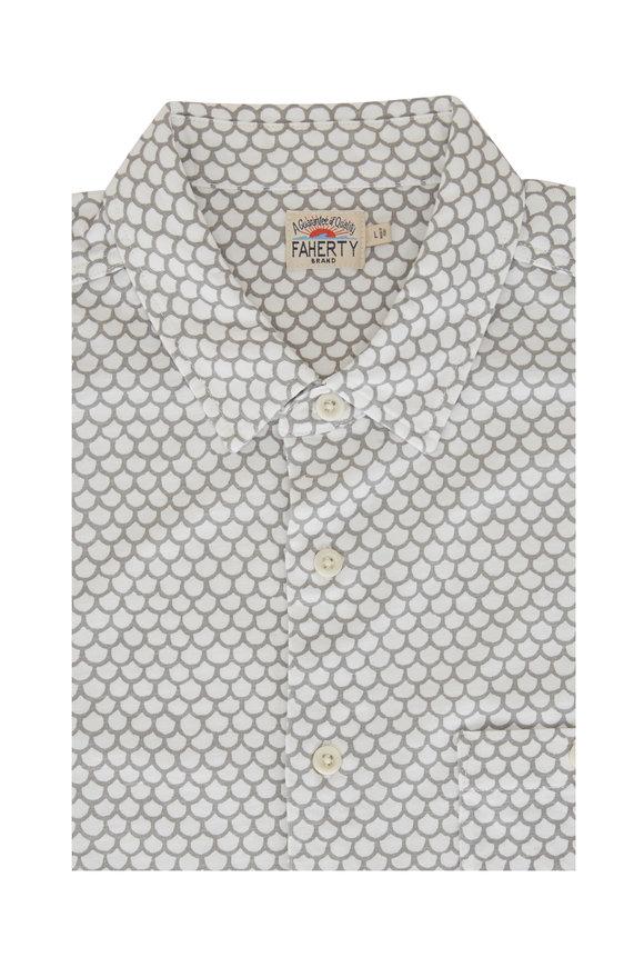 Faherty Brand Coast White Fishscale Short Sleeve Shirt