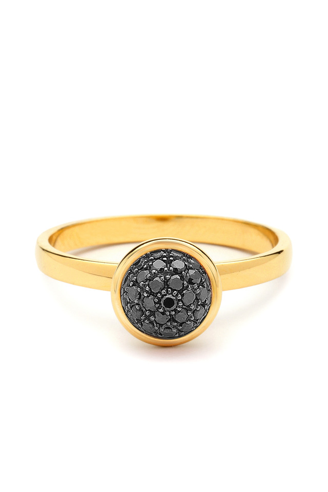 Yellow Gold Black Diamond Baubles Ring