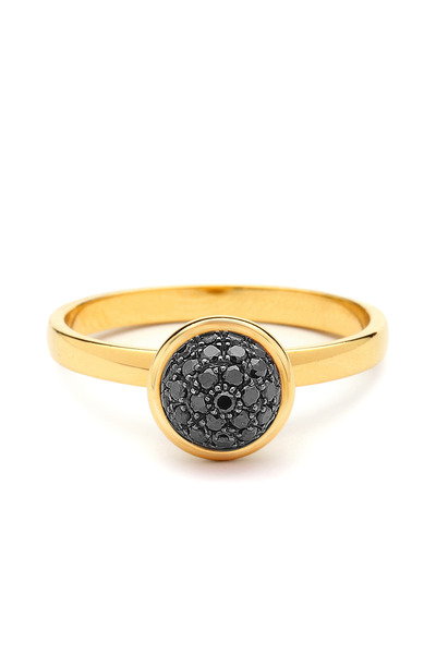 Syna - Yellow Gold Black Diamond Baubles Ring