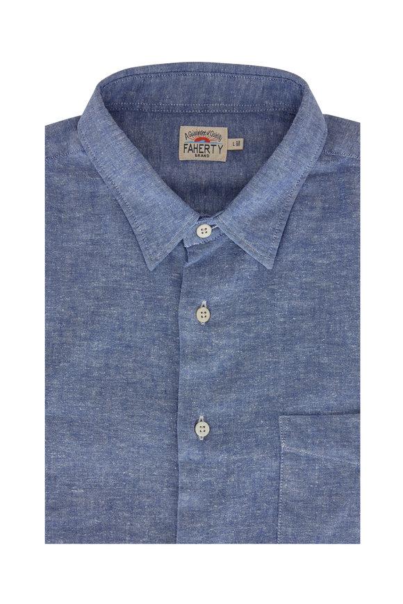 Faherty Brand Breeze Ultramarine Chambray Button Down Shirt
