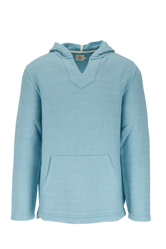 Faherty Brand Whitewater Teal V Neck Hoodie