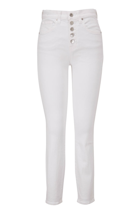 Veronica Beard Debbie White High-Rise Skinny Ankle Jean