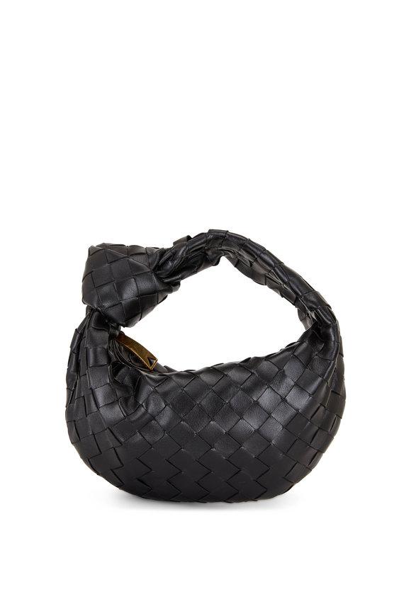 Bottega Veneta Jodie Black Woven Leather Mini Knot Hobo