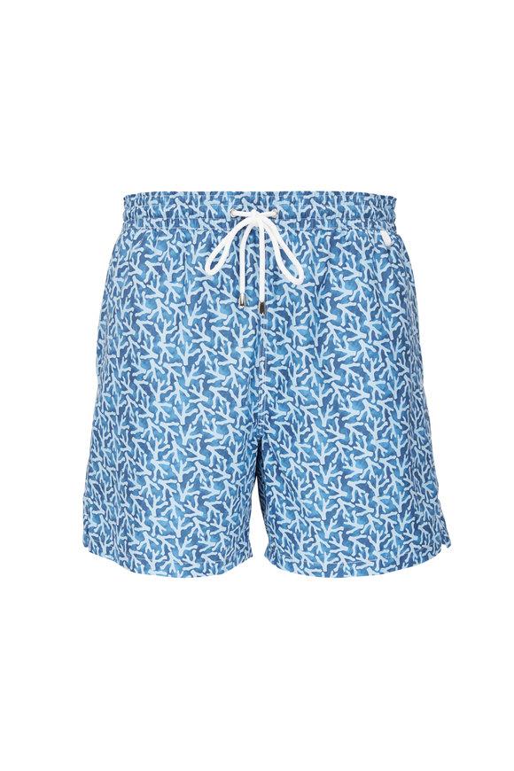Isaia Blue Coral Print Swim Trunks