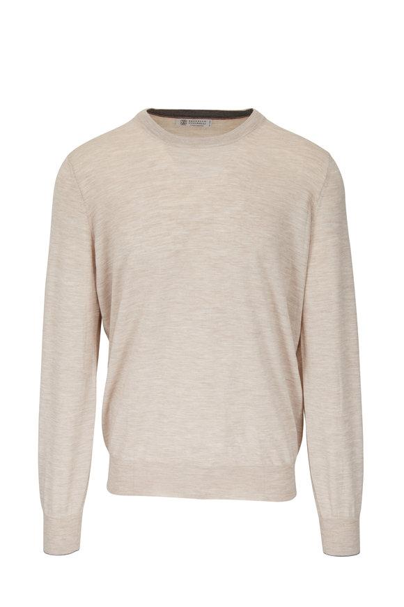 Brunello Cucinelli Sand Wool & Cashmere Crewneck Sweater