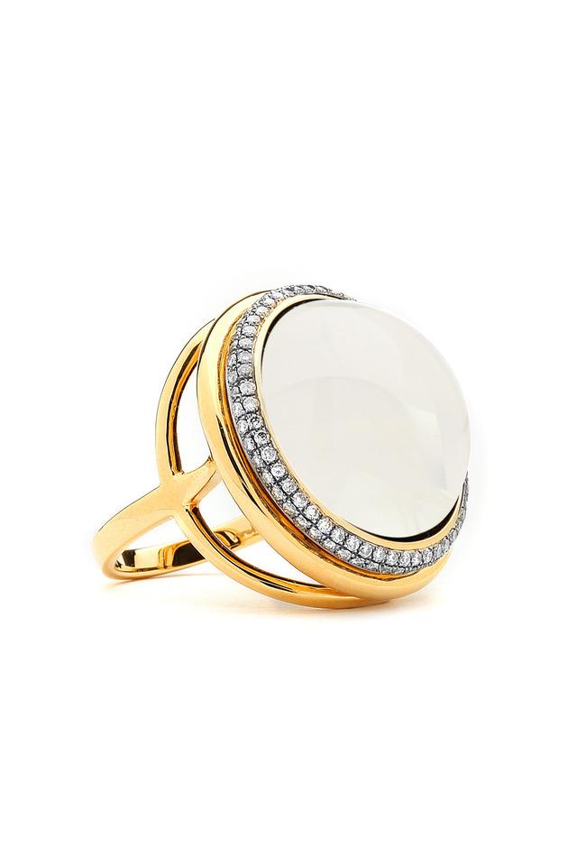 Yellow Gold Moon Quartz Ring With Diamonds