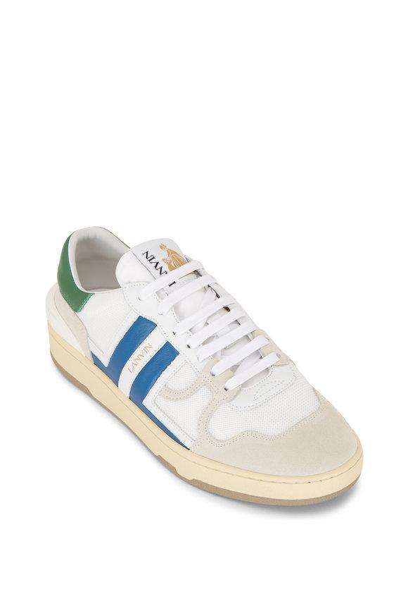 Lanvin White & Blue Logo Low Top Tennis Sneaker