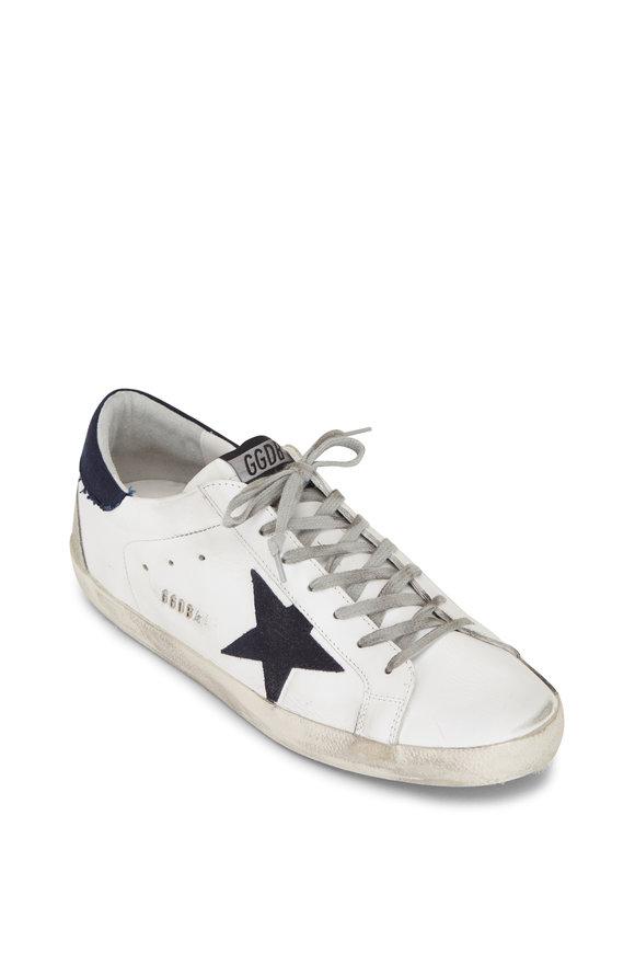 Golden Goose Superstar White Leather Denim Heel Low Top Sneaker