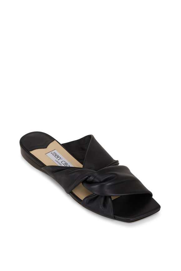 Jimmy Choo Narisa Black Napa Leather Flat Slide