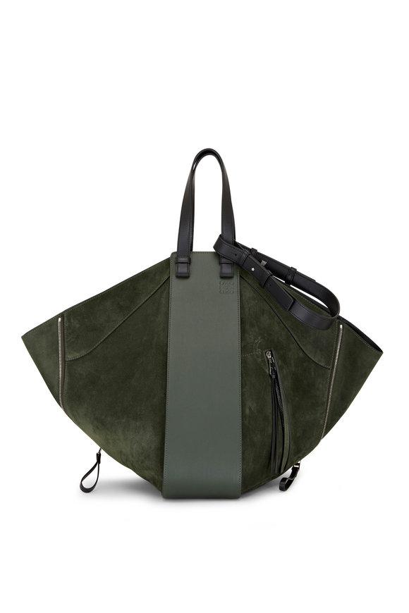 Loewe Hammock Khaki Suede & Leather Tote Hobo Bag
