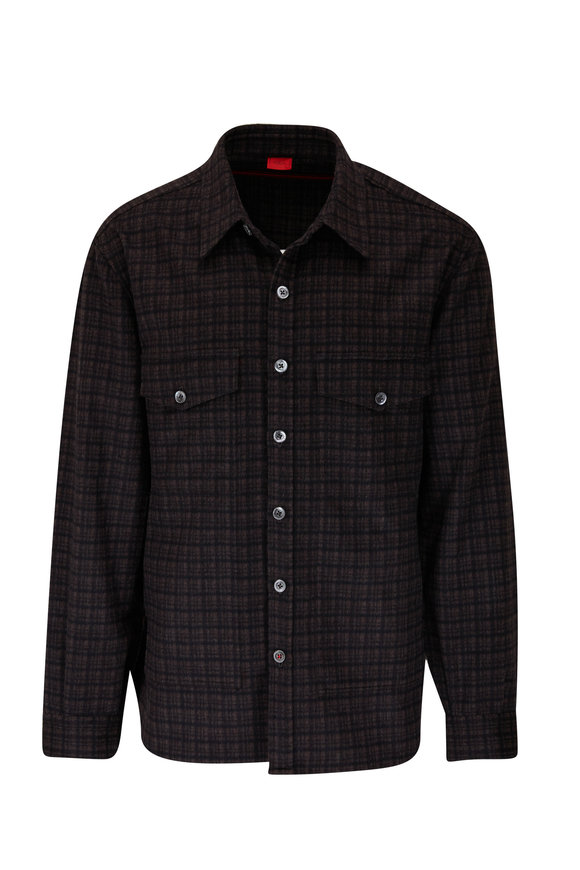 Isaia Brown Check Wool & Cashmere Overshirt
