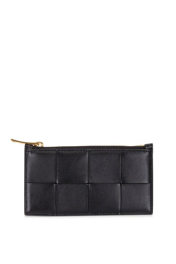 Bottega Veneta Black Woven Leather Zip Card Case