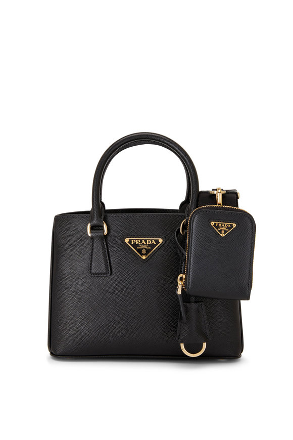 Prada Black Zip Pouch Leather Crossbody