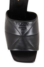 Prada - Black Quilted Napa Leather Block Heel Slide, 65mm