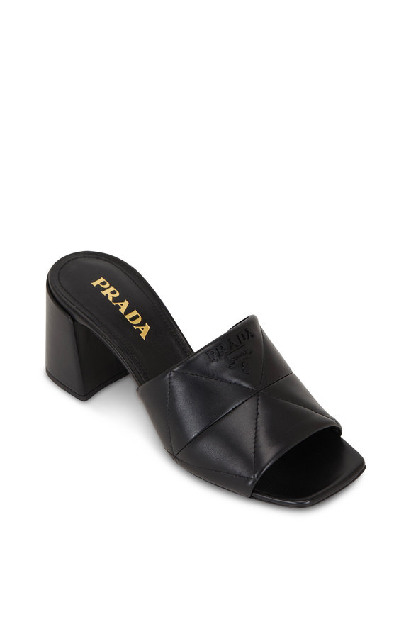 Prada Black Quilted Napa Leather Block Heel Slide, 65mm