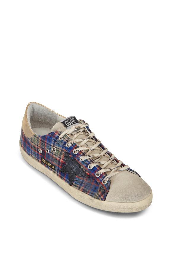 Golden Goose Super-Star Tartan Plaid Low-Top Sneaker