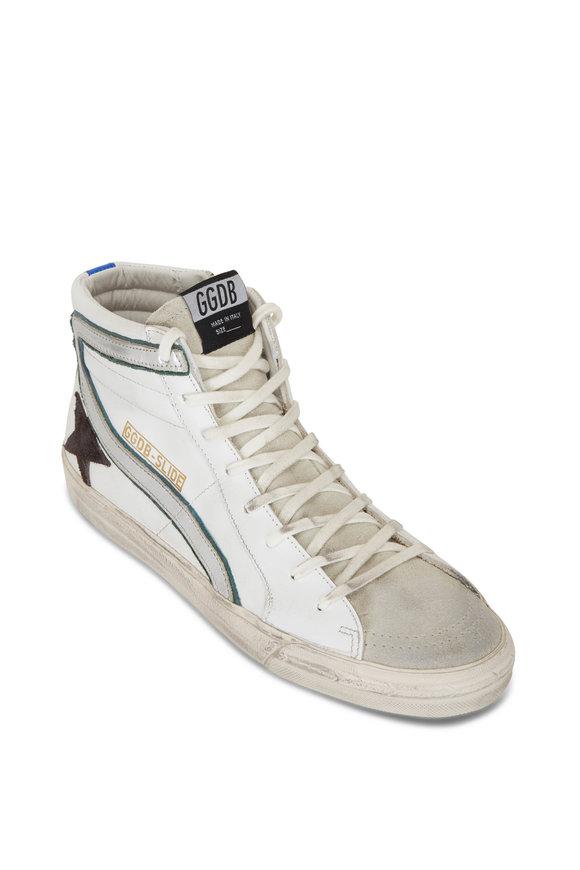 Golden Goose Slide White Leather High-Top Sneaker
