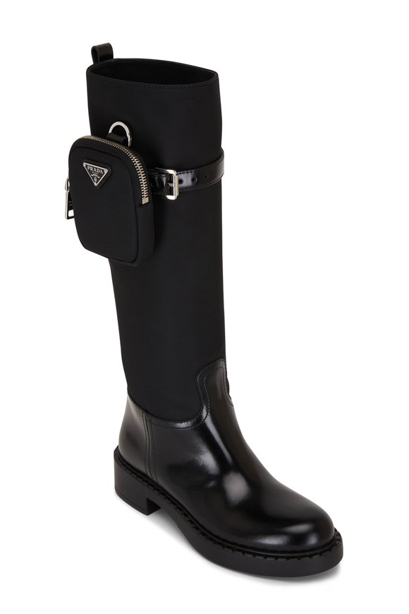 Prada Black Zip Pouch Nylon & Leather Tall Boot