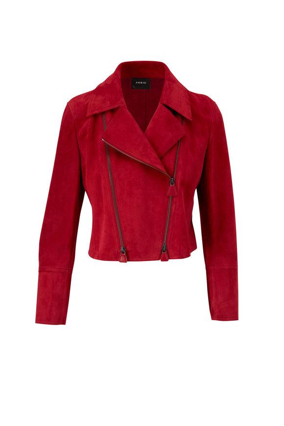 Akris Clary Cadmium Red Suede Short Moto Jacket