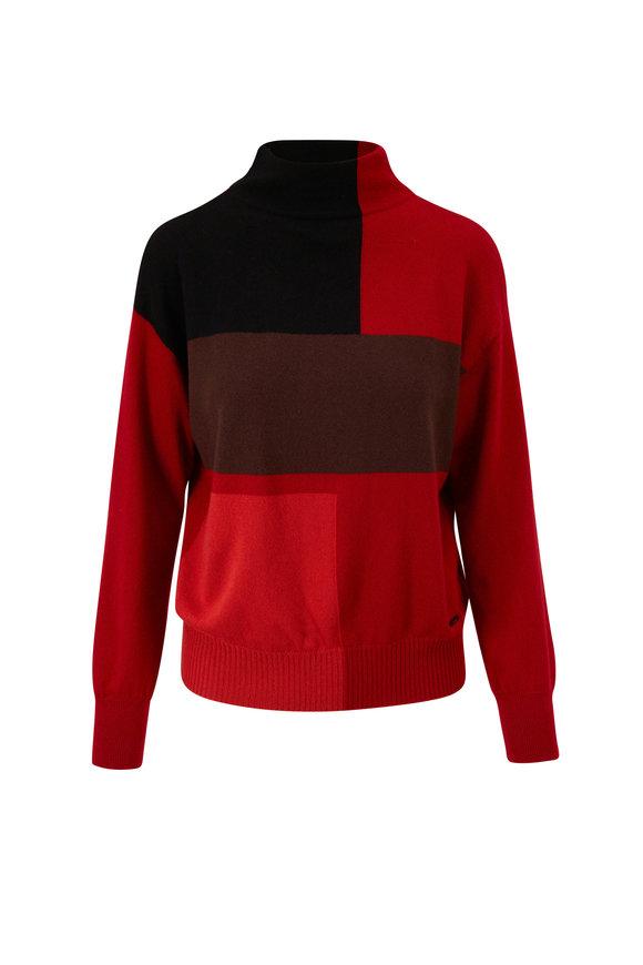 Akris Cadmium Red & Marsala Cashmere Sweater