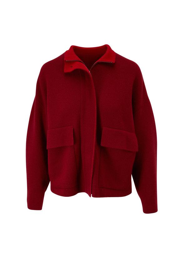 Akris Marsala & Cadmium Red Cashmere Reversible Cardigan