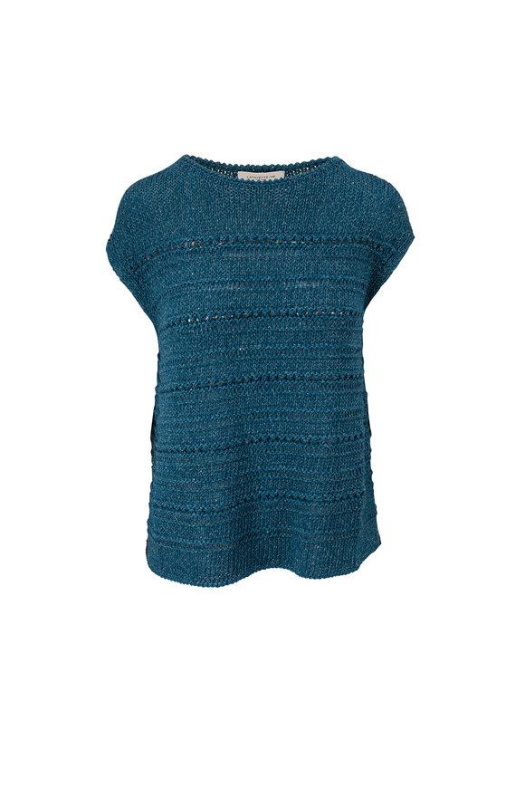 Lafayette 148 New York Teal Open Stitch Micro Paillette Sweater
