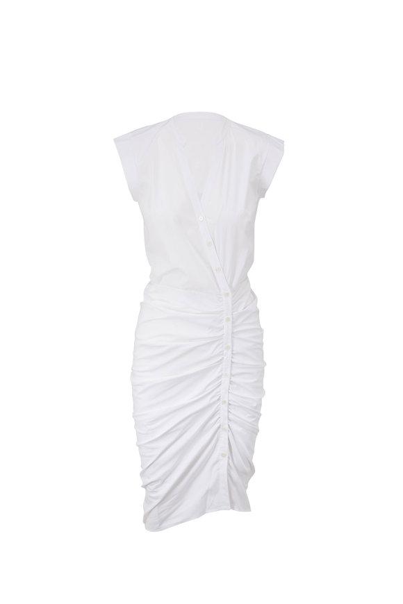 Veronica Beard White Ruched Sleeveless Shirt Dress